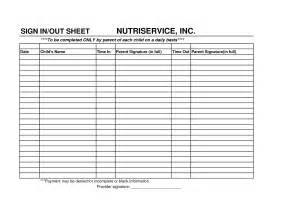 childcare sign in sheet template best photos of parent sign out sheet template parent