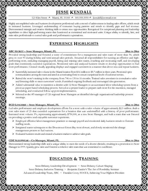 Resume Sles For Retail Manager Sle Resume For Store Manager Free Resumes Tips