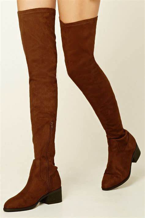 brown thigh high boots lyst forever 21 thigh high faux suede boots in brown