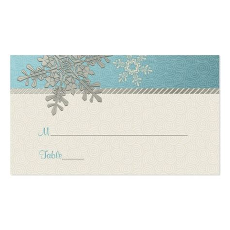 snowflake place card template silver blue snowflake winter wedding place cards zazzle