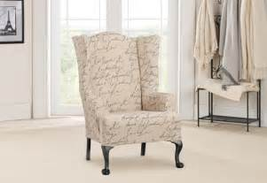 wing chair slipcover pattern sure fit stretch pen pal by waverly wing chair slipcover
