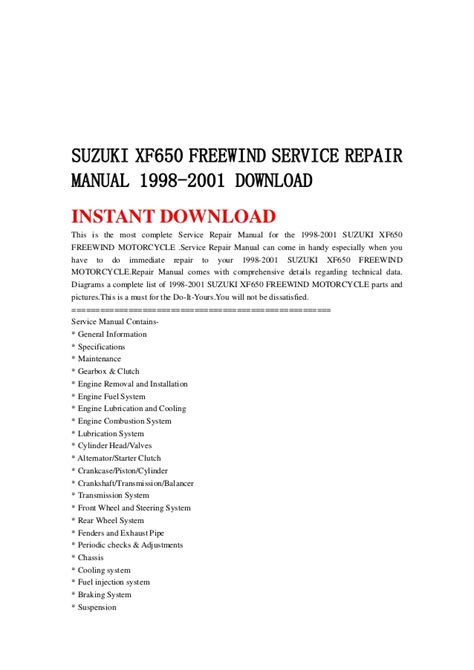 free online car repair manuals download 1998 suzuki swift spare parts catalogs suzuki xf650 freewind service repair manual 1998 2001 download
