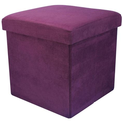 storage stool ottoman faux suede folding storage pouffe stool seat ottoman box