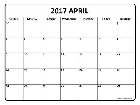Blank April 2017 Calendar Printable