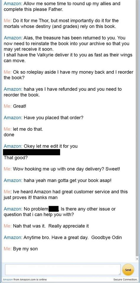 amazon customer service amazon customer service conversation with thor business