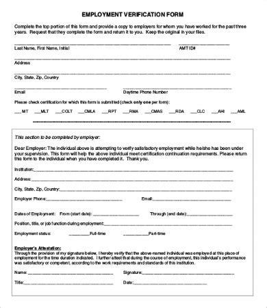 employment verification form template word microsoft office