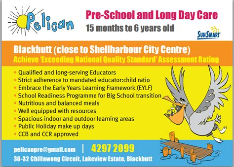 s day rating pelican pre school day care child care centres