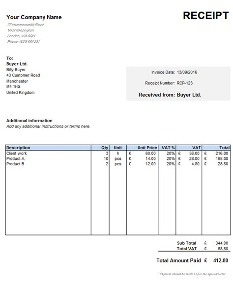 Free Receipt Template Excel by Free Uk Receipt Template