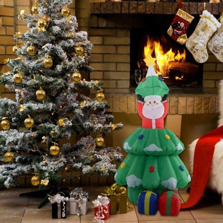 walmart christmas yard decorations costway 5 ft airblown santa claus in tree decor lawn yard outdoor walmart