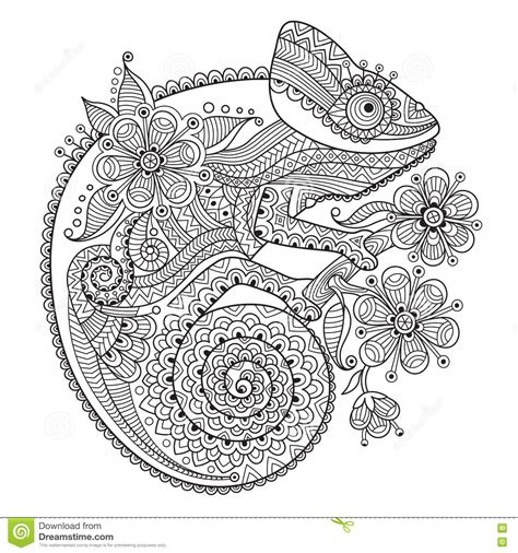 coloring pages for adults chameleon black and white vector illustration with a chameleon in