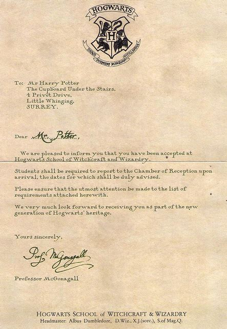 Hogwarts Acceptance Letter Invitation Hogwarts Acceptance Letter From Harry Potter We It