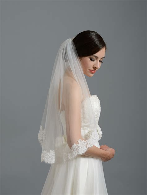 Bridal Veil by Ivory Alencon Lace Wedding Veil V050