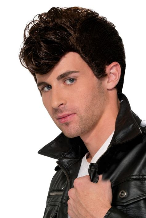 50s hair wigs for men 50 s greaser wig in black colorful cheap wigs
