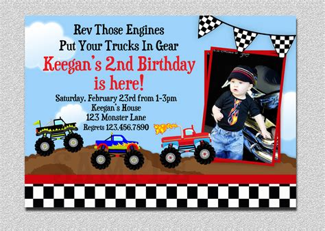 truck birthday invitations template best template collection