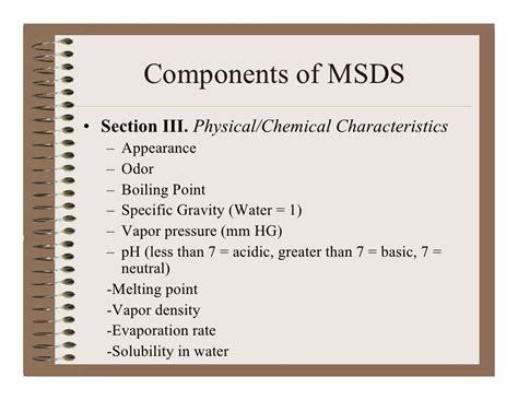 msds sections msds
