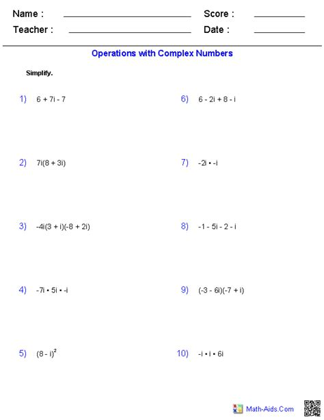 Multiplying Complex Numbers Worksheet by Worksheets Adding And Subtracting Complex Numbers