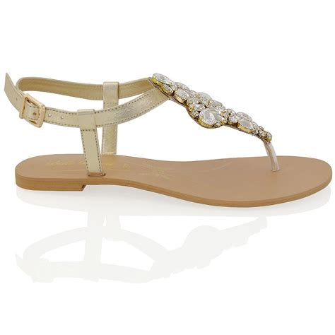 sparkly flat sandals womens flat t bar sparkly sandals rhinestones