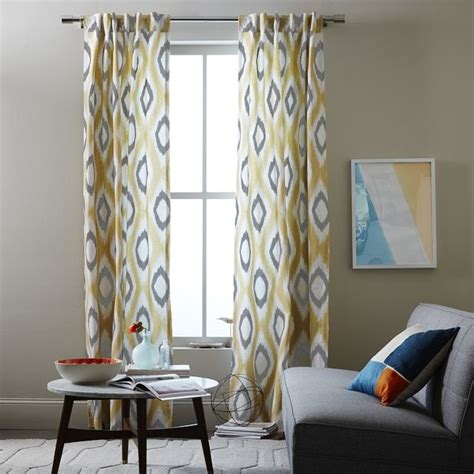 west elm ikat curtains cotton canvas ikat diamond curtain horseradish