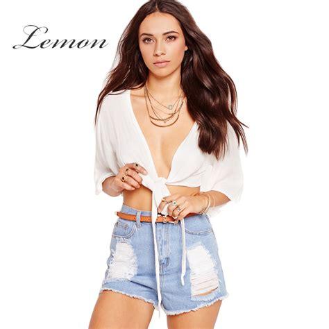V Neck Basic Blouse White Neumor lemon summer white blouses shirt v neck belt