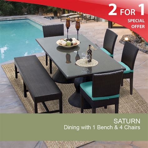 Dining Table With Bench And 4 Chairs Rectangular Patio Dining Table Outdoor Dining Table With Bench