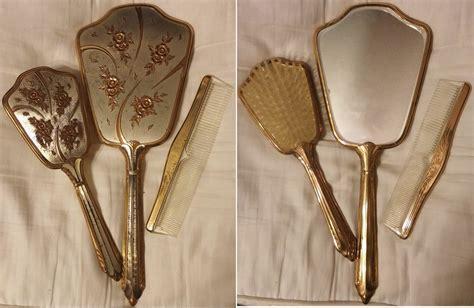 Vintage Brush And Mirror Dresser Set by Vintage Vanity Sets Mirror Brush Comb Set Collectors