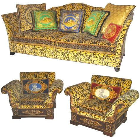 Versace Style Sofa by Gianni Versace Sofa And Pair Of Club Chairs At 1stdibs