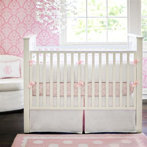 Pink Damask Wallpaper Traditional Nursery New Pink And White Damask Crib Bedding