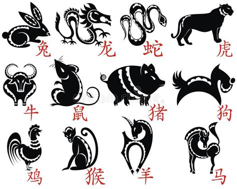 zodiac tattoo prices the twelve chinese zodiac stock vector illustration of