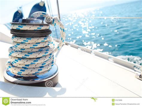sailboat rope sailboat winch and rope yacht detail stock image image