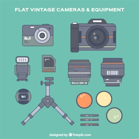 flat layout photography photography equipment and accessories in flat design