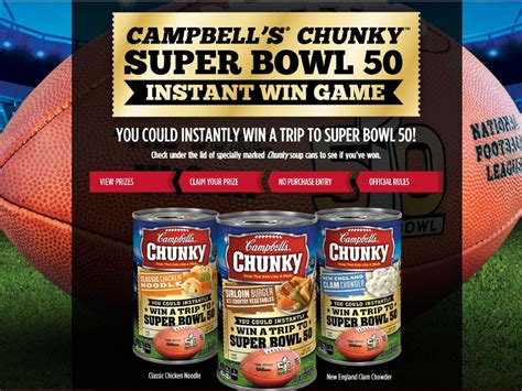 Win Super Bowl 2015 Tickets Sweepstakes - cambell s chunky super bowl 50 instant win game sweepstakes fanatics