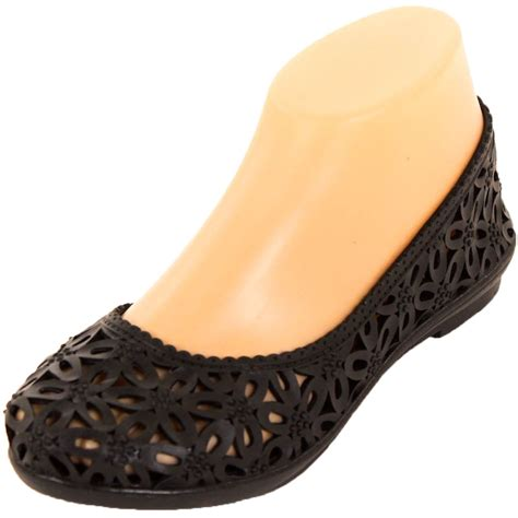 womens jelly ballet flats slip on shoes crochet hollow