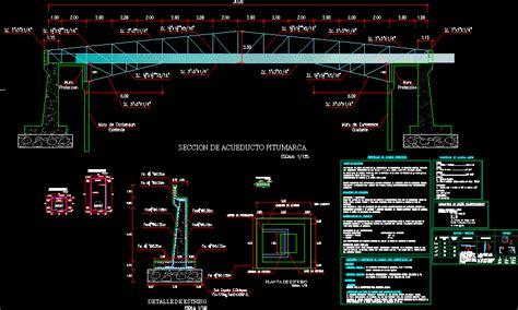irrigation aqueduct concrete metal arch bridge dwg block