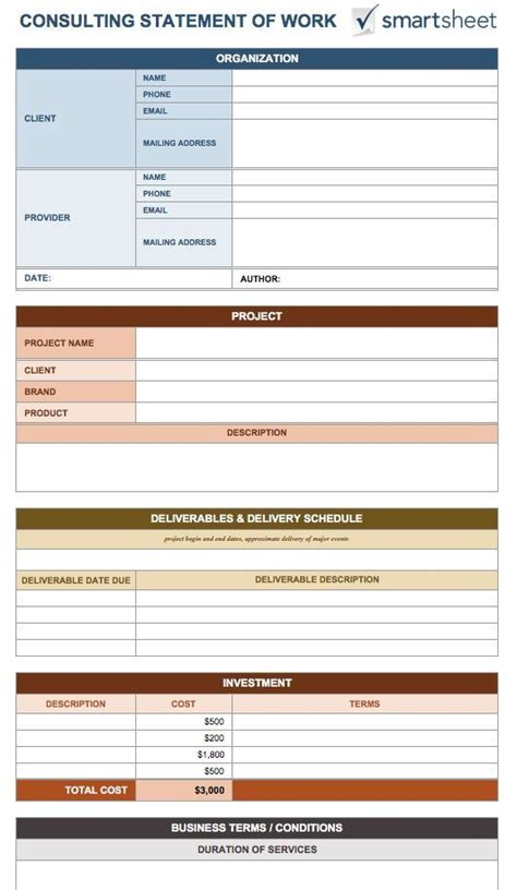 statement of work template consulting statement of work template 8 free word excel pdf