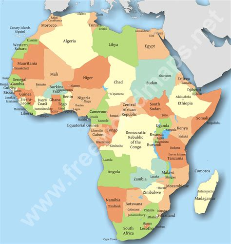 map of africa countries map of africa with capital cities