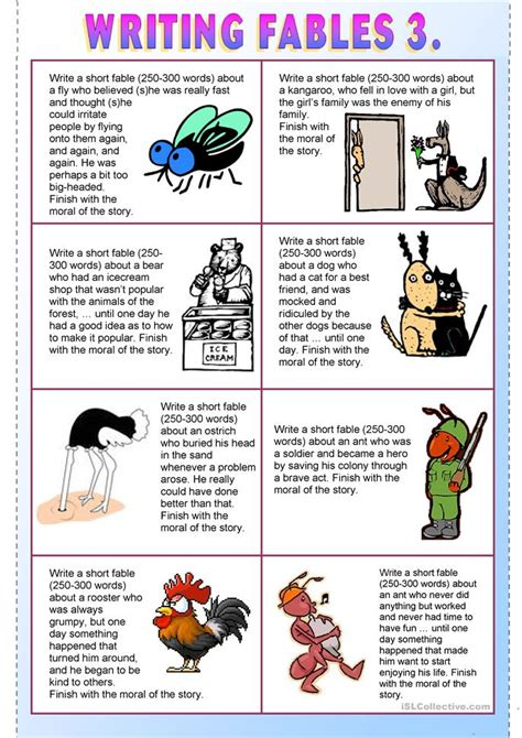 Fables Comprehension Worksheets by Writing Fables 3 Worksheet Free Esl Printable