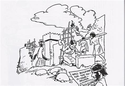 free coloring pages of nehemiah wall