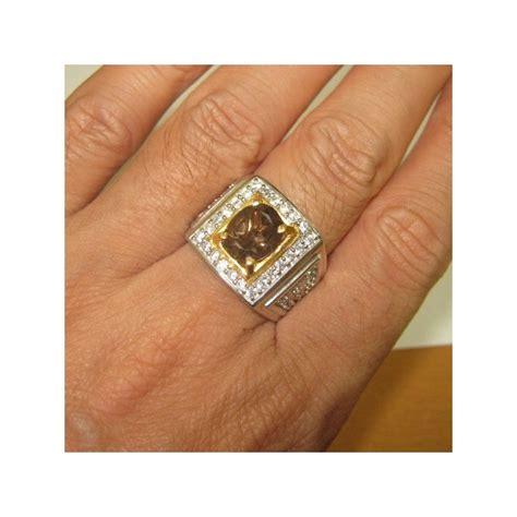 Batu Cincin Smoky Quartz cincin silver smokey quartz untuk pria ring 11 5 us