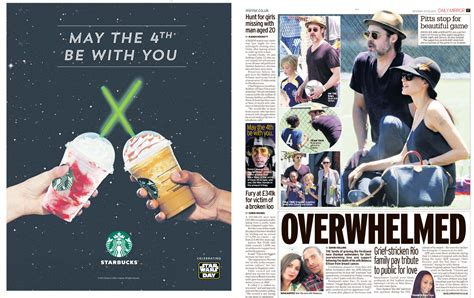 newspaper theme ads brands mark star wars day with ads in the mirror