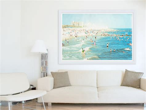 big wall art oversized art large wall art coney island beach by minagraphy