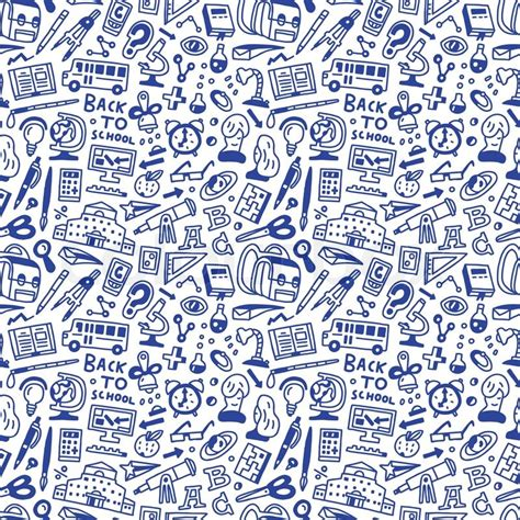 pattern background icon school education seamless pattern with icons in sketch