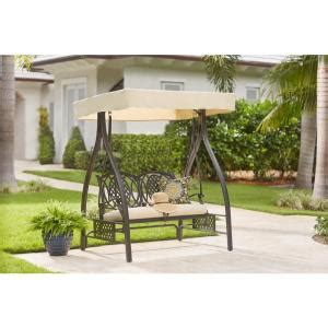 porch swing springs home depot hton bay belcourt metal outdoor swing with stand and