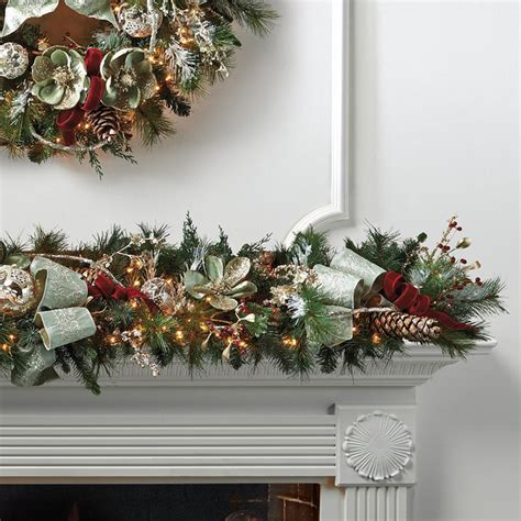 silver green decorated pre lit christmas garland