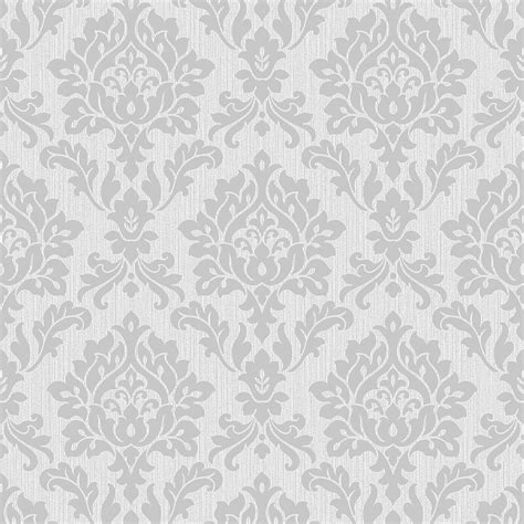 fine decor burlington damask wallpaper silver fd40625