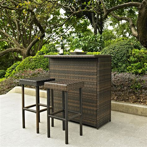 Patio Bar Furniture Set Palm Harbor 3 Outdoor Wicker Bar Set Table Two Stools Ojcommerce