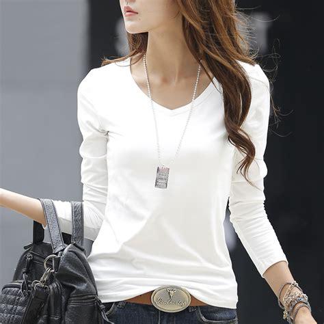 21811 Blouse Graywhite 2017 new white sleeve t shirt solid color v neck cotton t shirt slim basic