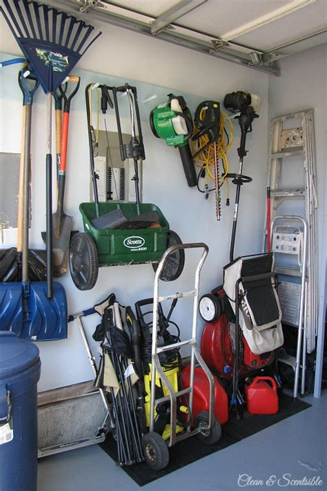 Garage Storage For Lawn Mower Garage Organization Makeover Clean And Scentsible