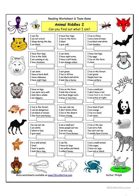 free printable animal riddles animal riddles 2 medium worksheet free esl printable