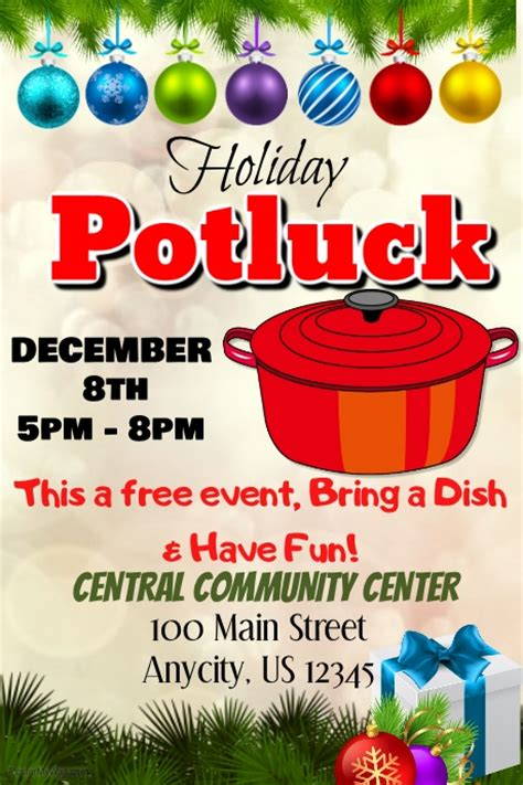 free templates for potluck flyers holiday potluck postermywall