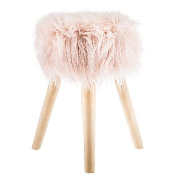 Faux Fur Desk Stool by Pink Faux Fur Wood Stool Hobby Lobby 1470806